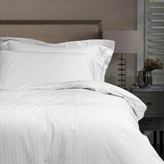 Nina MG Quilt Cover Set - Dobby Cotton Blend Stripe 1 cm / White