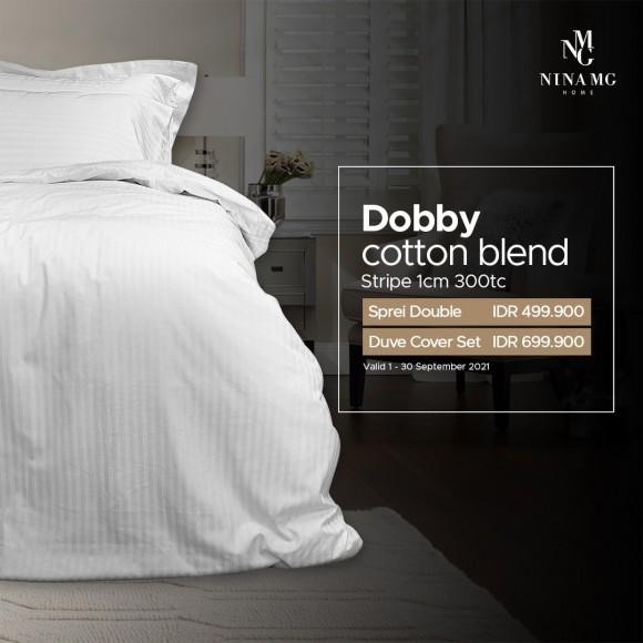 Nina MG Bed Sheet Set - Dobby Cotton Blend Stripe 1 cm / White