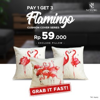 Nina MG Cushion Cover - Flaminggo 3 Pcs 59.000