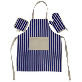 Tomomi Apron Set - Diagonal Stripes - Blue