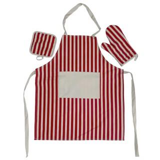 Tomomi Apron Set - Diagonal Stripes-Red