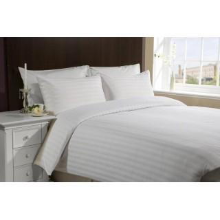 NINA MG Flat Sheet Dobby Stripe White Cotton 300TC - stripe 3cm