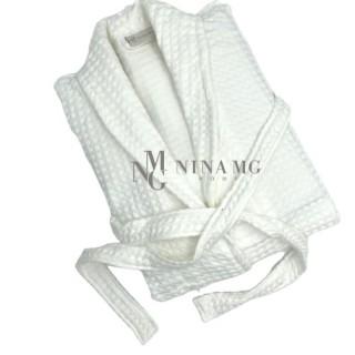 Nina MG Bath robe - Waffle / White