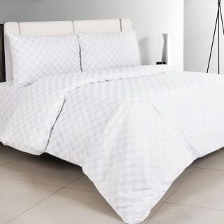 Nina MG Quilt Cover Set - Dobby Square 3 cm / White