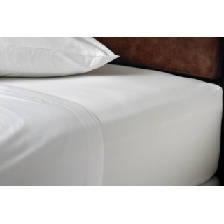 NINA MG Fitted Sheet Solid White Cotton 400 TC